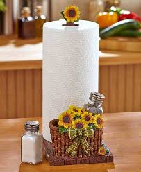 themed paper towel holder sunflowers paper towel holder shaker sets glass metal salt