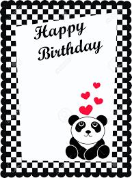happy birthday card with a cute panda bear royalty free cliparts