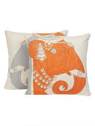 buy orange grey organic loom cotton elephant hand painted cushion