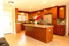 furniture cherry kitchen cabinets with wood kitchen island and cherry kitchen cabinets with wood kitchen island and light wooden flooring plus recessed ceiling lighting for traditional kitchen design ideas