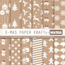 christmas digital paper christmas kraft paper