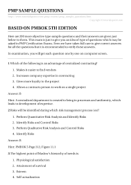 Pmp Sample Resume by Pmp Sample Questions