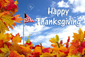 happy thanksgiving autumn leaves pumpkins and usa flag with