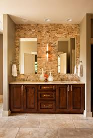 tropical guest bathroom with brown wooden vanity using shabby chic