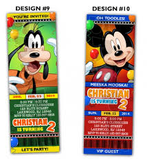 mickey mouse clubhouse ticket birthday party invitations