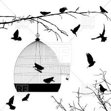 silhouettes of flying birds and birdcage on branch of tree