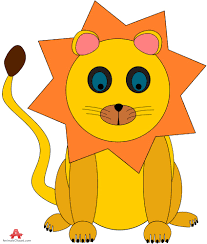 colored lion cartoon free clipart design download