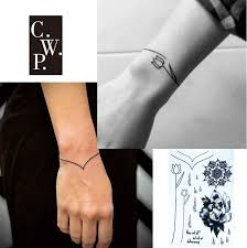 bracelet hand tattoo images Bh1706 1 piece simple bracelet black line tattoo with flower wrist jpg