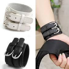 clasp cuff bracelet images Fashion double belt 100 real leather wrist bracelet for men and jpg