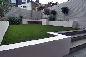 artificial grass easi grass grey painted fences modern garden