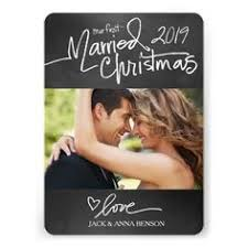 newly wed christmas card merry and married script photo card photo