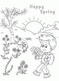 happy spring coloring page for kids seasons coloring pages