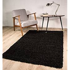 luxury super soft black shaggy rug 7 sizes available 60cmx110cm