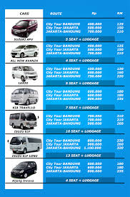 rent a price price list tansport bandung
