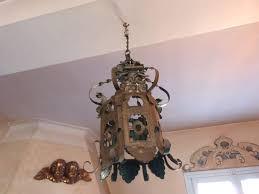 antique french gold tole ware lantern chandelier floral decor