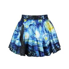 amazon com 2014 summer van gogh u0027s starry night pleated skirts for