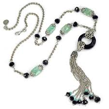black tassel necklace images Art deco black and silver jade asian tassel necklace by sweet romance jpg