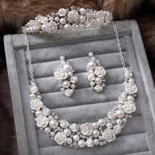 wedding accessories store in stock 2015 white pearl bridal jewelry sets necklace