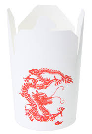 32oz chinese take out paper container dragon print