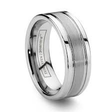 tungsten mens wedding bands 8mm grooved brushed center tungsten wedding band