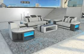 couch and chair set leather sofa set boston 3 2 1 led