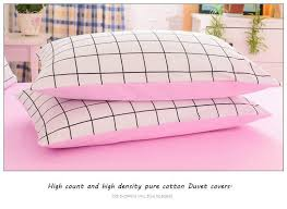 high density pure cotton duvet covers set simple lattice bedding