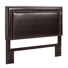 headboards leather dorel home furnishings espresso faux leather headboard with nailheads