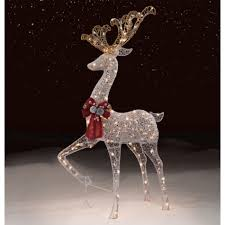Giraffe Christmas Light Decoration by Trimming Traditions Outdoor 200 Light Silver Mesh Standing Deer