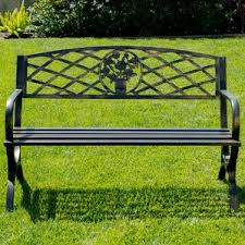 Outdoor Metal Furniture by Metal Patio Benches You U0027ll Love Wayfair