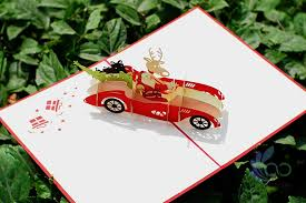 reindeer driving with santa pop up cards aoc craft jsc
