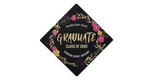 pink graduation cap metallic golden pink floral wreath graduate year graduation cap