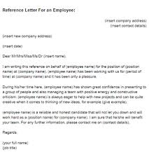 Reference Letter reference letter for an employee sle just letter templates