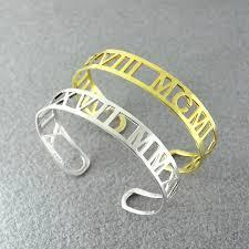 Personalized Bangle Bracelet Aliexpress Com Buy Personalized Roman Numerals Bracelet Date