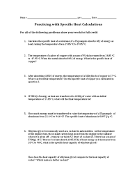 specific heat problems worksheet worksheets releaseboard free