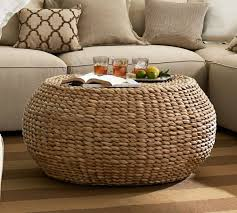 Seagrass Storage Ottoman Living Room The Most Woven Coffee Table Round Pottery Barn Lowes