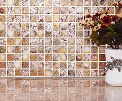 Online Get Cheap Gold Kitchen by Aliexpress Com Buy Gold Foil Glass Natural Shell Mosaic Tiles