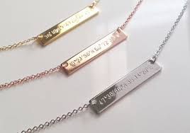 graduation jewelry gift gps coordinate necklace gold bar necklace personalized
