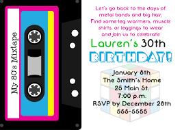 birthday party rsvp 80 u0027s theme 30th birthday party invitation