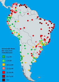 Chicago Homicide Map by Homicide Rates By City In South America Vivid Maps
