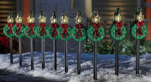 Led Christmas Pathway Lights Amazon Com Christmas Lamp Posts Pathway Stakes Set Of 10