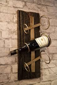 rustic 3 bottle wall hanging wine rack