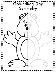 groundhog day directed drawing and symmetry activity worksheets