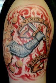 phillips family crest tattoo on left shoulder arm shoulder