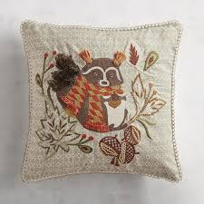 Pier One Peacock Pillow by Embroidered Scarved Raccoon Pillow Pier 1 Imports