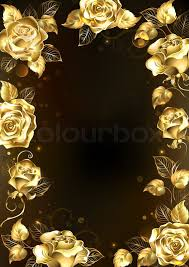 gold roses frame with sparkling jewelry gold roses on a black background