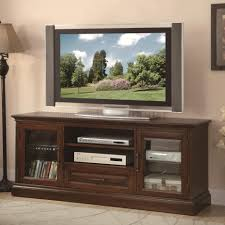 tv stand glass doors long shabby brown wooden tv stand with two shelves also drawer