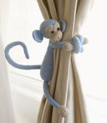 Baby Boy Curtains Nursery Curtains by Monkey Curtain Tie Back1 Pcsshabby Chic Curtainscrochet