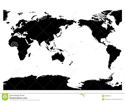 World Map Silhouette Australia And Pacific Ocean Centered World Map High Detail Black
