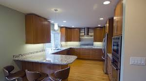 Led Lights For Kitchen Cabinets Wooden Kitchen Cabinet Led Wall Light Room With Cream Granite Top