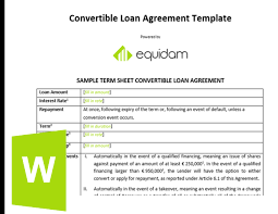 Loan Term Sheet Template Convertible Note Template Equidam Business Valuation